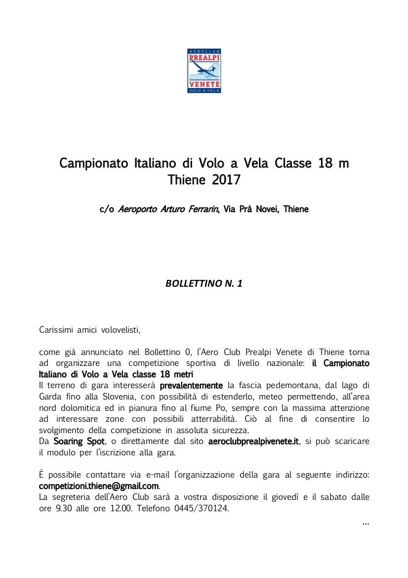 Campionato Italiano 18 metri Thiene 2017 Bollettino Nr 1